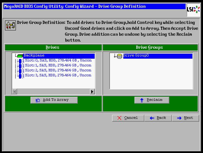 IBM MegaRAID BIOS Config Utility RAID-10 Configuration | xorl %eax, %eax
